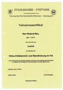 Zertifikat Klimaanlage