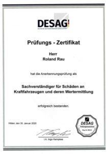 Zertifikat DESAG Kfz Gutachter