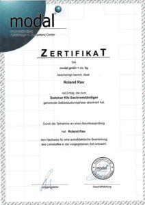 Zertifikat Modal erfolgreich